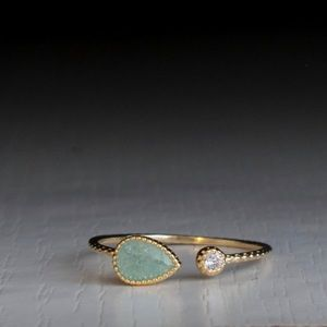 Last! Gold 925 sterling silver ring w/ mint stone
